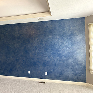 blue silver colorwash wall