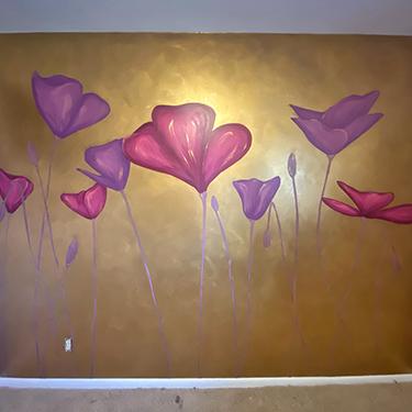 gold glitter poppy mural