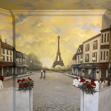 Paris street cafe mural and sandstone faux finish