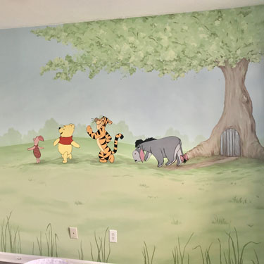 Winnie the Pooh Character Mural